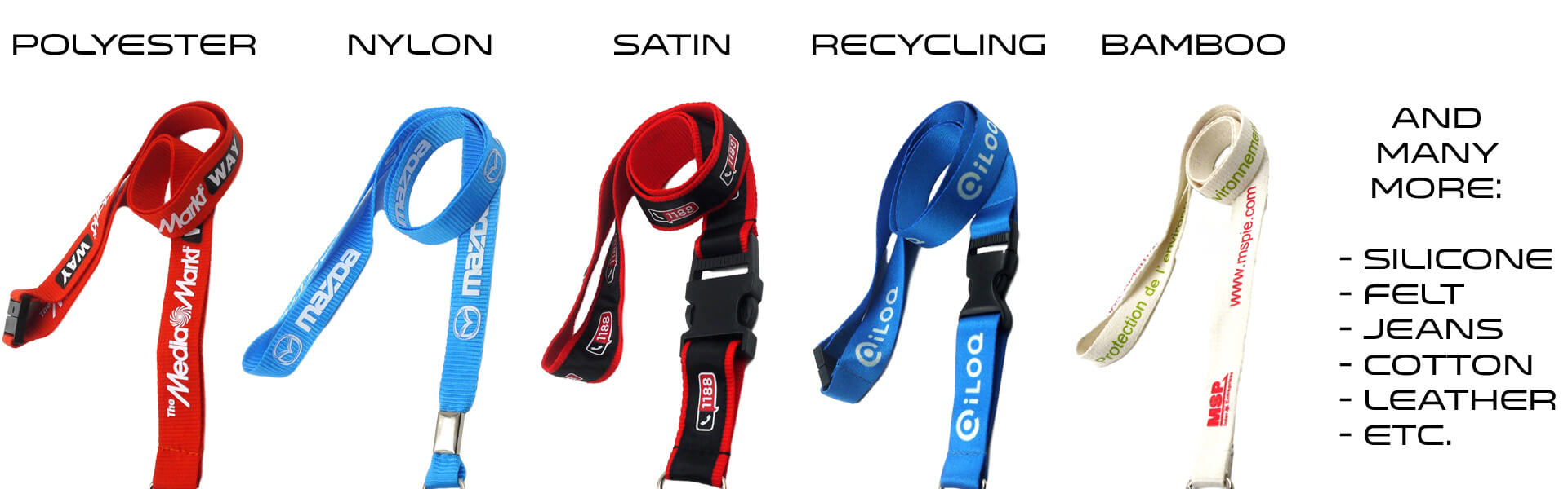 different materials for lanyards
